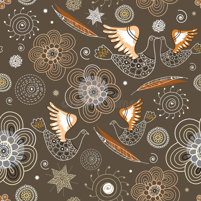 Seamless pattern of ornamental birds and flowers stock illustration