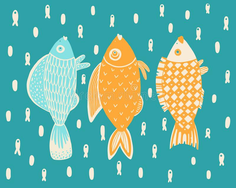Seamless pattern of ornamental fish.Vector stock image