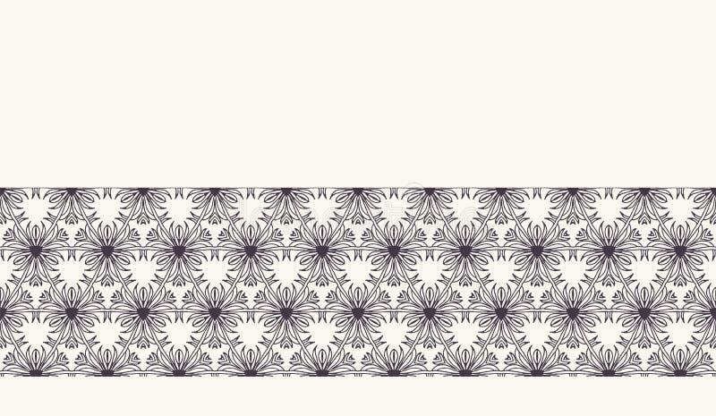 Seamless pattern hand drawn ornamental flower background.Floral monochrome stripe. Vector ribbon edging trim. Seamless pattern ornamental flower background stock illustration