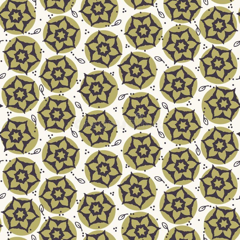 Seamless pattern hand drawn ornamental flower daisy motif background. Stylized allover print. Vector floral leaf line art swatch. Seamless pattern ornamental royalty free illustration