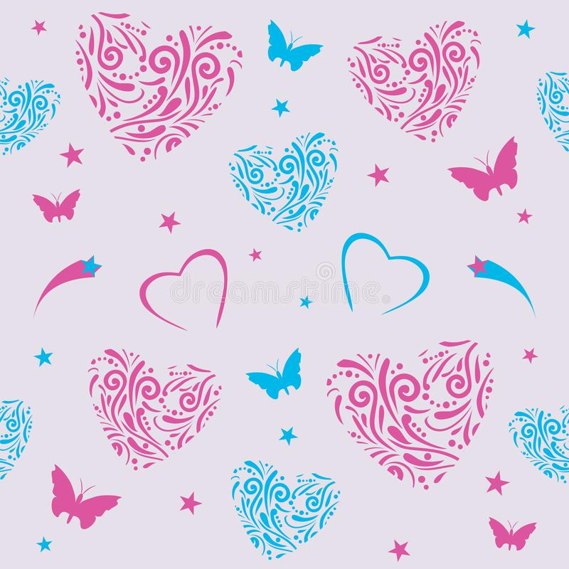 Seamless pattern with ornamental hearts royalty free stock images