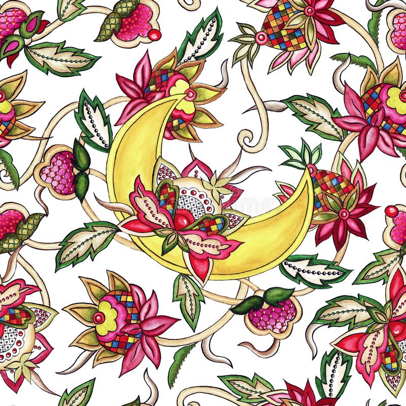 Seamless pattern Ornamental moon with decorative stylized flowers and leaves watercolor vector illustration