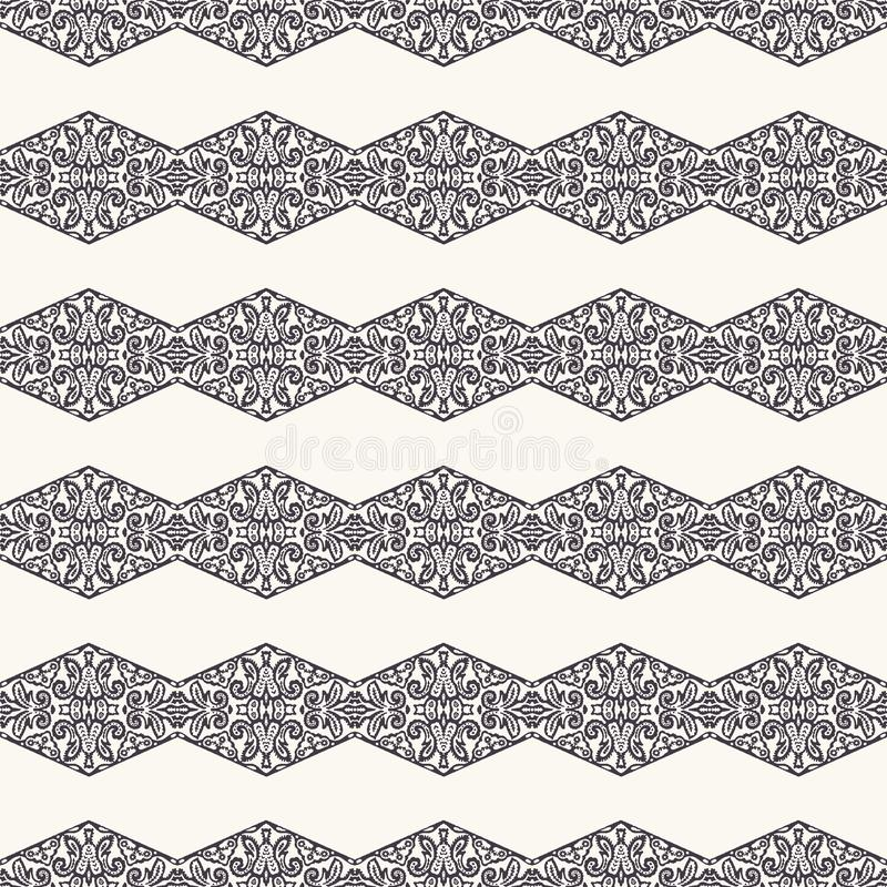 Seamless pattern hand drawn ornamental stripe background. Geometric diamond allover print. Vector intricate line art swatch. Seamless pattern ornamental stripe vector illustration