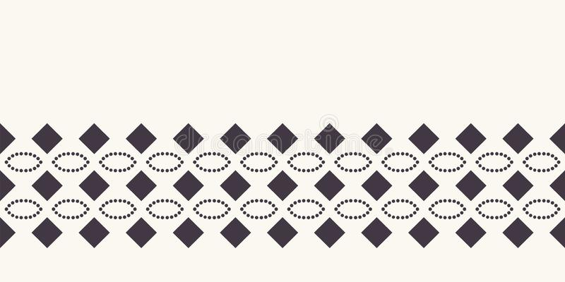 Seamless pattern hand drawn ornamental stripe background. Geometric ethnic tribal stripe. Vector line art ribbon edging trim stock illustration