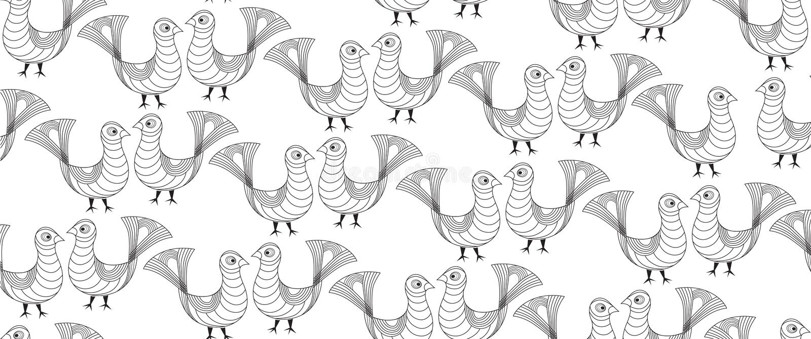 Seamless pattern with outline birds