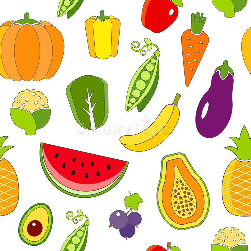 Seamless pattern with outlined fruits and vegetables. The pattern can be repeated or tiled without any visible seams stock illustration