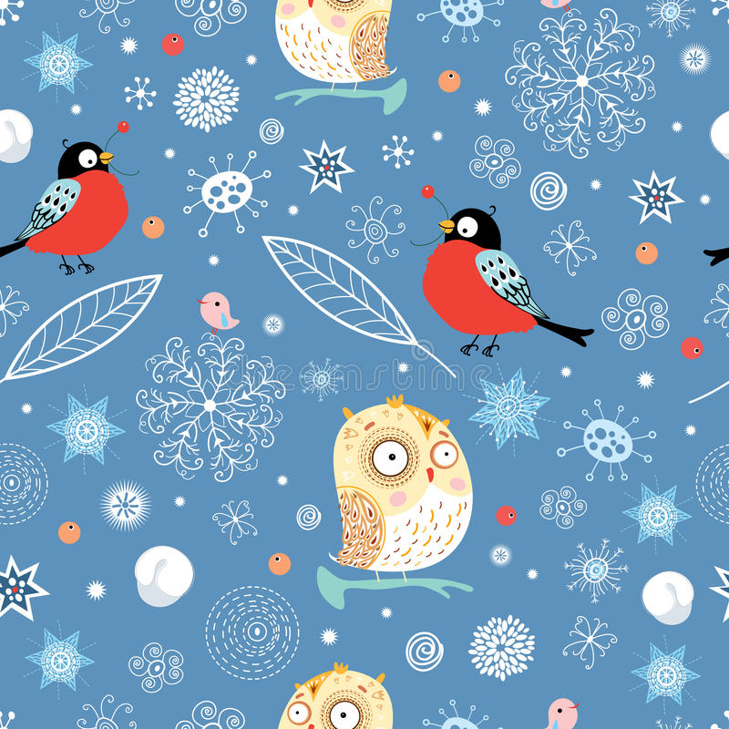Seamless pattern of owls and bullfinch