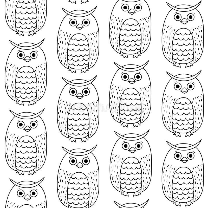 Eagle Owl Head Adult Antistress Coloring Page Stock