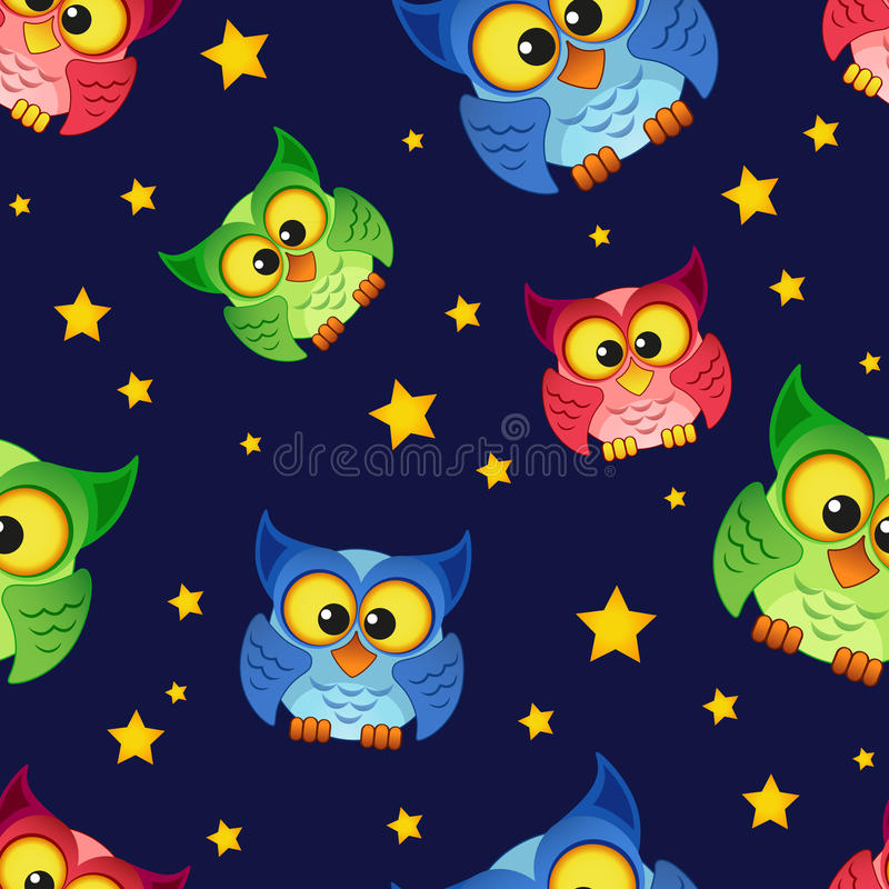 Seamless pattern with owls and stars. Vector background vector illustration