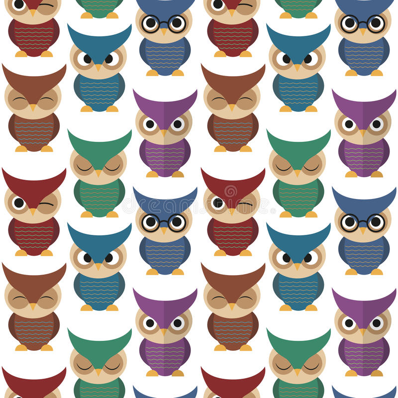 Seamless pattern with owls stock images