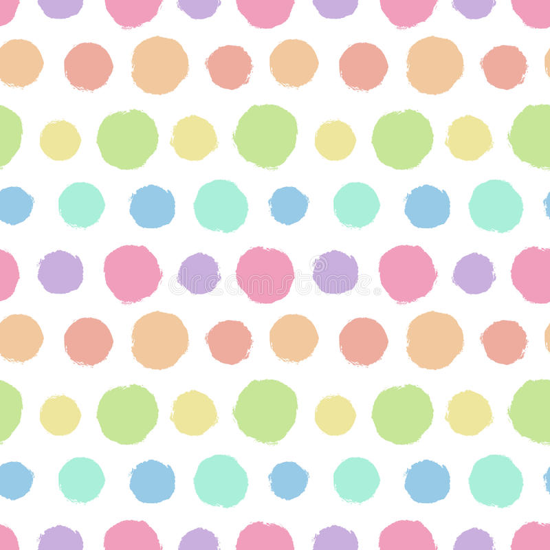 Seamless pattern with painted polka dot texture stock illustration