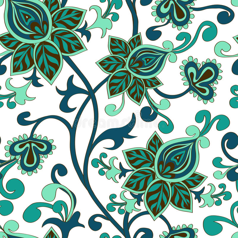 Seamless pattern of paisley floral ornament stock illustration