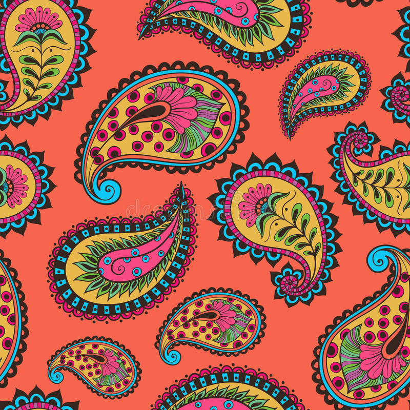 Seamless pattern paisley Indian royalty free stock image