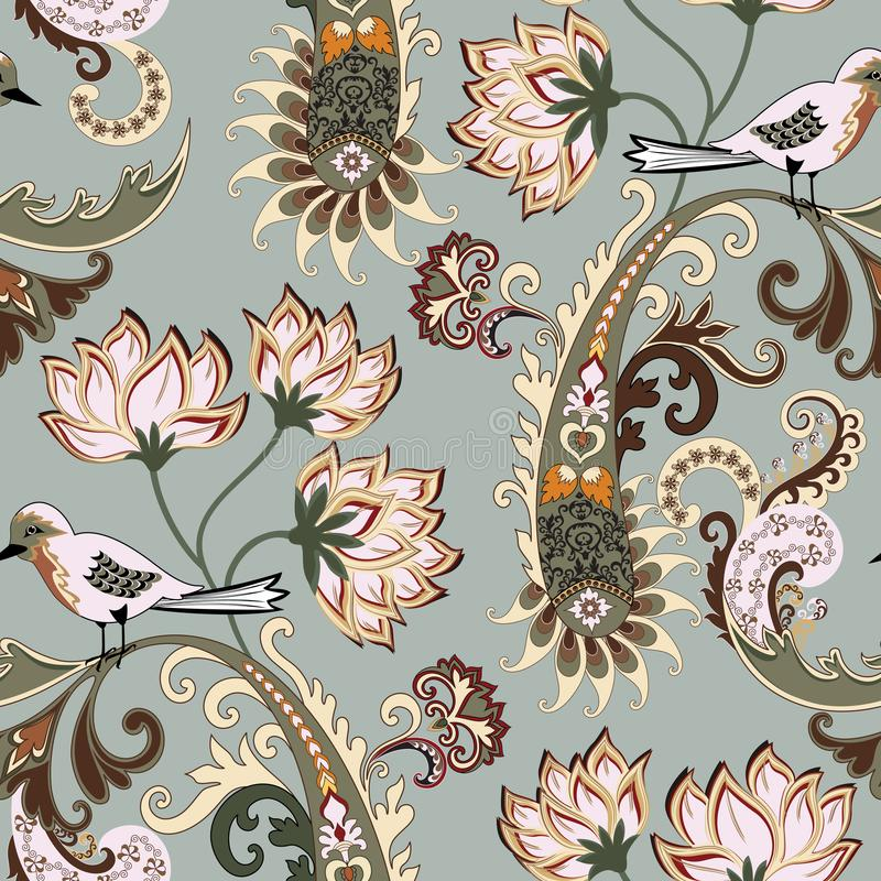 Seamless pattern with paisley and a small motley bird on a pale green background vector illustration