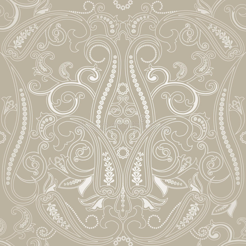 Seamless pattern with paisleyTraditional oriental filigree ornament. Seamless pattern with paisley. FLoral background. Traditional oriental filigree ornament stock illustration