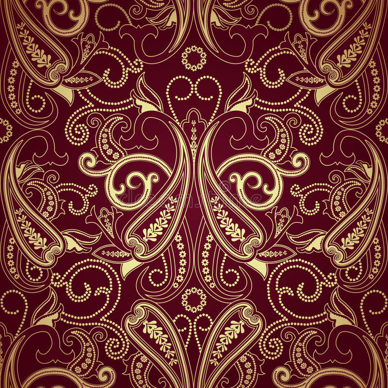 Seamless pattern with paisleyTraditional oriental filigree ornament. Seamless pattern with paisley.FLoral background.Traditional oriental filigree ornament stock illustration