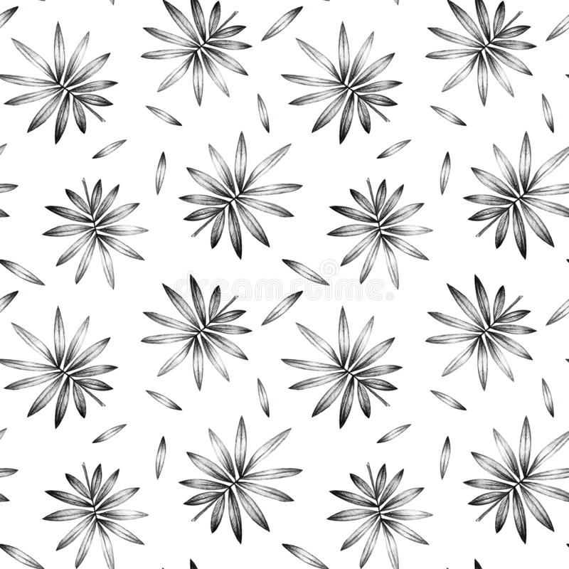 Seamless pattern with palm leaves on white background. royalty free illustration