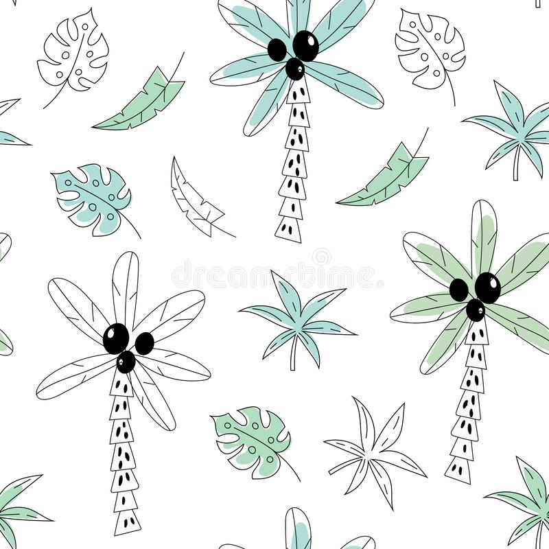 Seamless pattern with palm trees and branches hand drawn shapes. Creative kids texture for fabric, wrapping, textile. Wallpaper, apparel. Vector illustration stock illustration