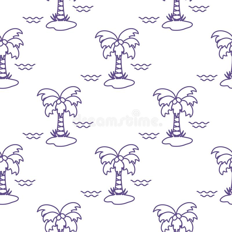 Seamless pattern with palm trees, coconuts and waves. Design for postcard, invitation, banner. Vector. Seamless pattern with palm trees, coconuts and waves vector illustration
