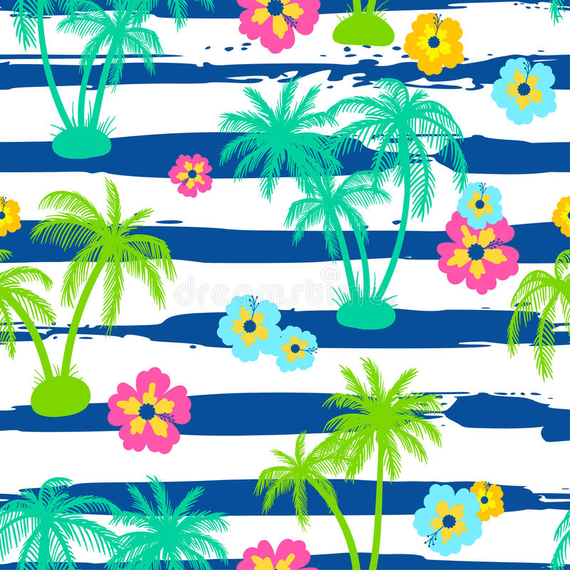 Seamless pattern with palm trees and hibiscus vector illustration