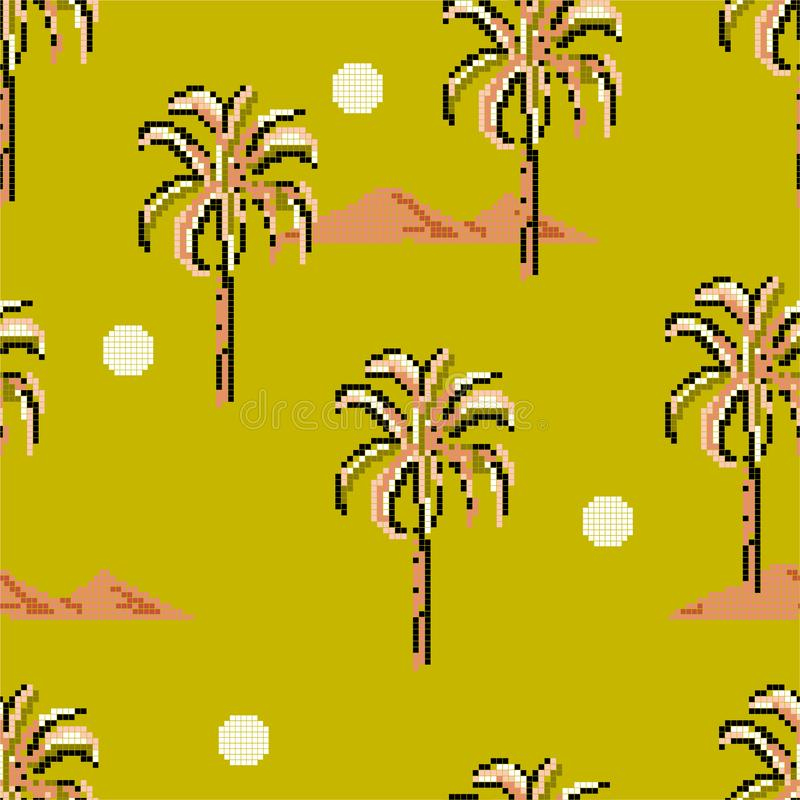Seamless pattern Palm trees and island mountain pixle  in vector illustration. Design for fashion , fabric, web ,wallpaper,. Wrapping  and all prints on retro stock illustration