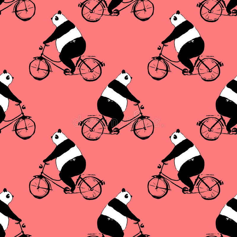 Seamless pattern with panda bear on bicycle vector illustration