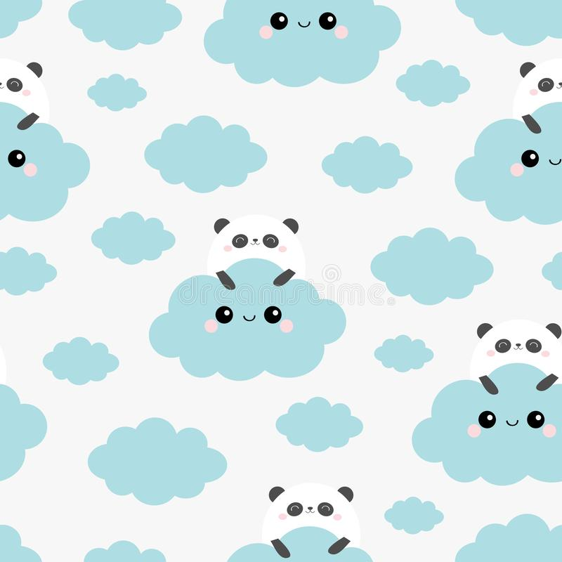 Seamless Pattern. Panda bear face holding cloud in the sky. Cute cartoon kawaii funny smiling baby character. Wrapping paper, stock illustration