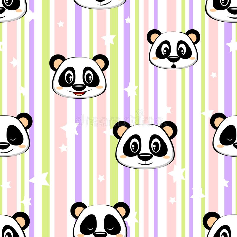 Seamless pattern with panda and stars. Vector illustration vector illustration