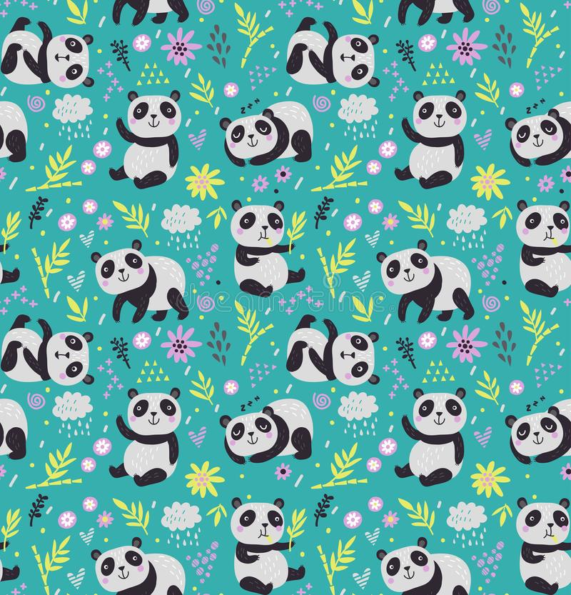 Seamless pattern with pandas royalty free illustration