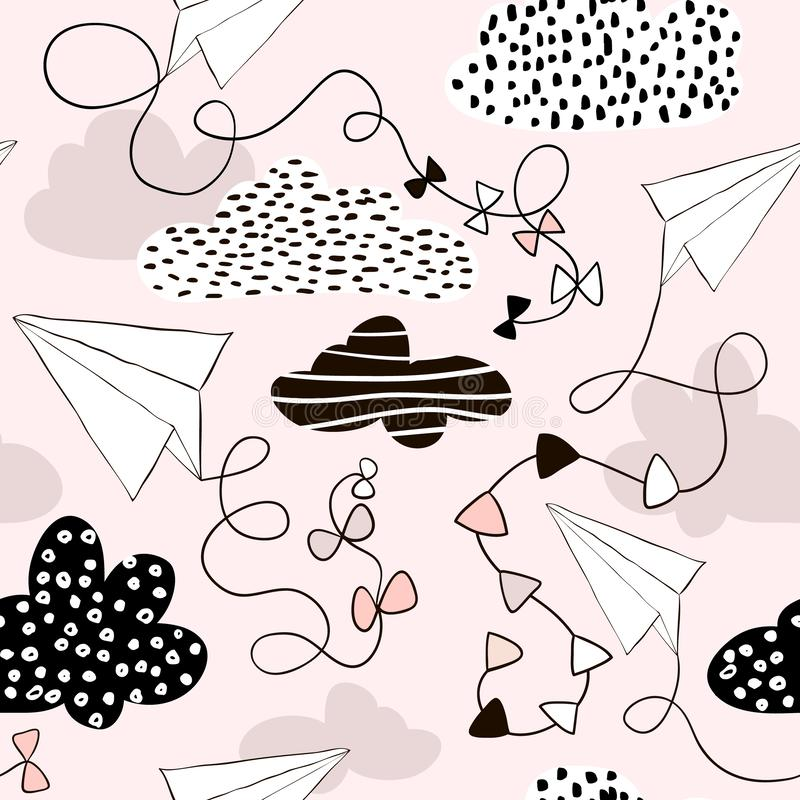 Seamless pattern paper airplanes and clouds in pink colors. Hand drawn creative childish background.Vector Illustration royalty free illustration