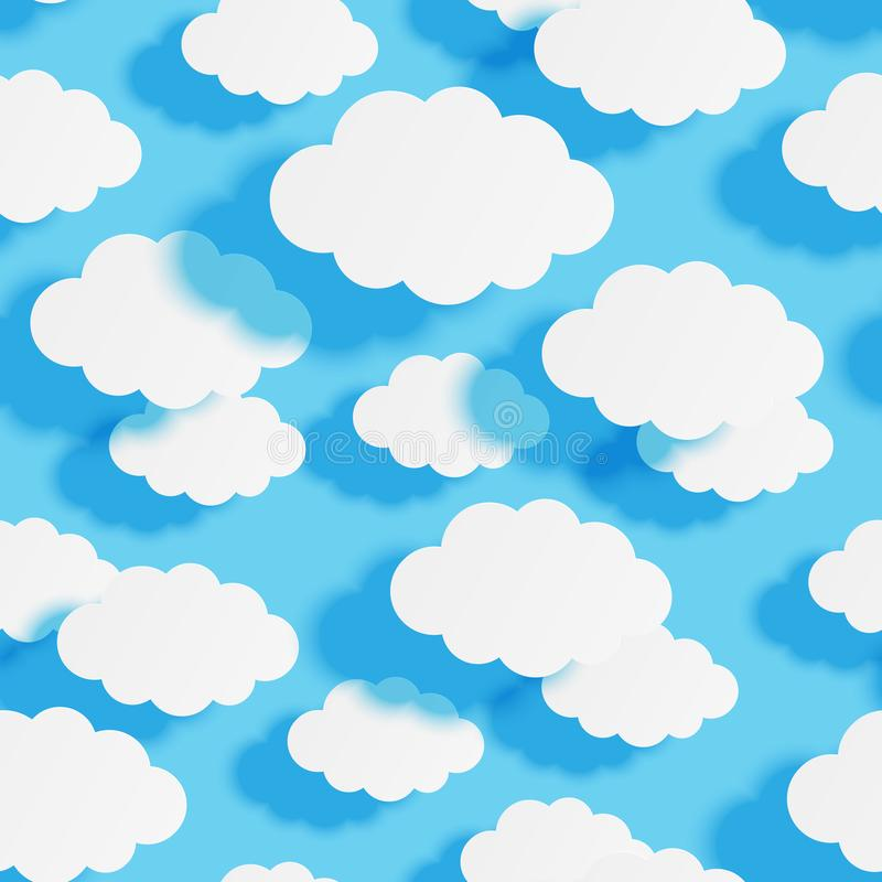 Seamless pattern with paper clouds on blue sky background for Your design. Seamless pattern with paper clouds on blue sky background stock illustration
