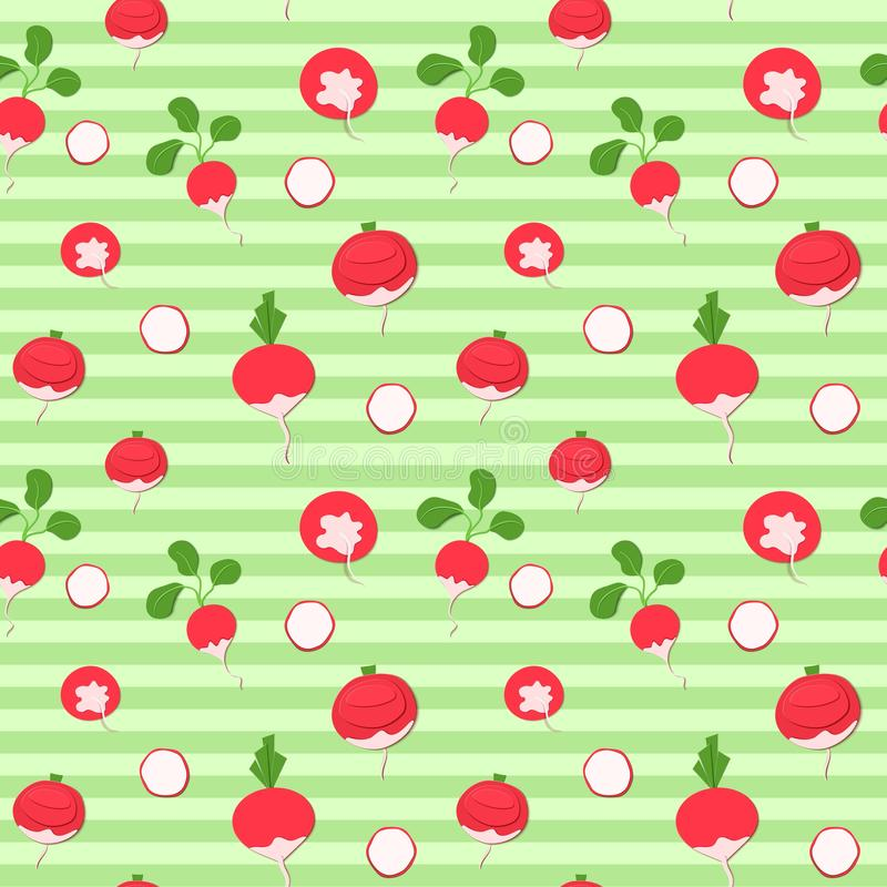 Seamless pattern with paper cut red radish on striped green background. Vector illustration of root whole and slice for stock illustration