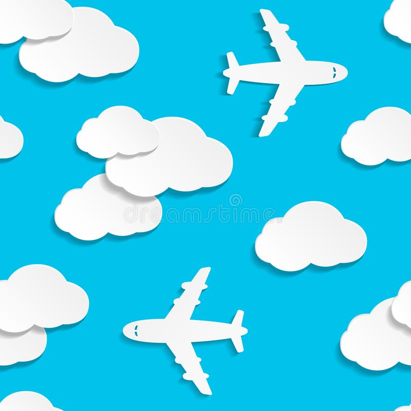 Seamless pattern with paper planes and clouds stock illustration