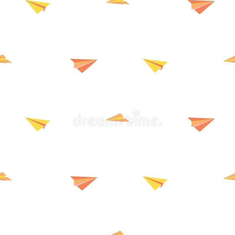 Seamless pattern paper planes minimalistic tribal style vector. stock illustration