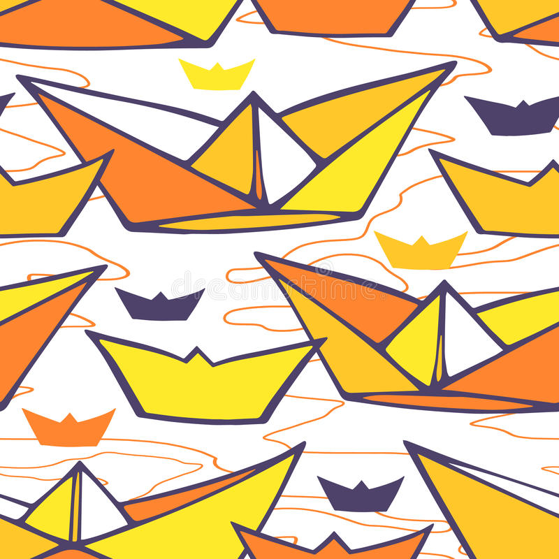 Seamless pattern with paper ships vector illustration