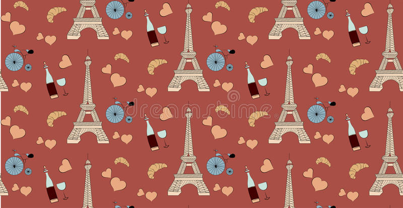 Seamless pattern with paris elements, eiffel tower bottle of wine heart and bicycle vector illustration