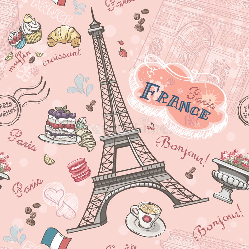 Seamless pattern on Paris from the romantic elements vector illustration