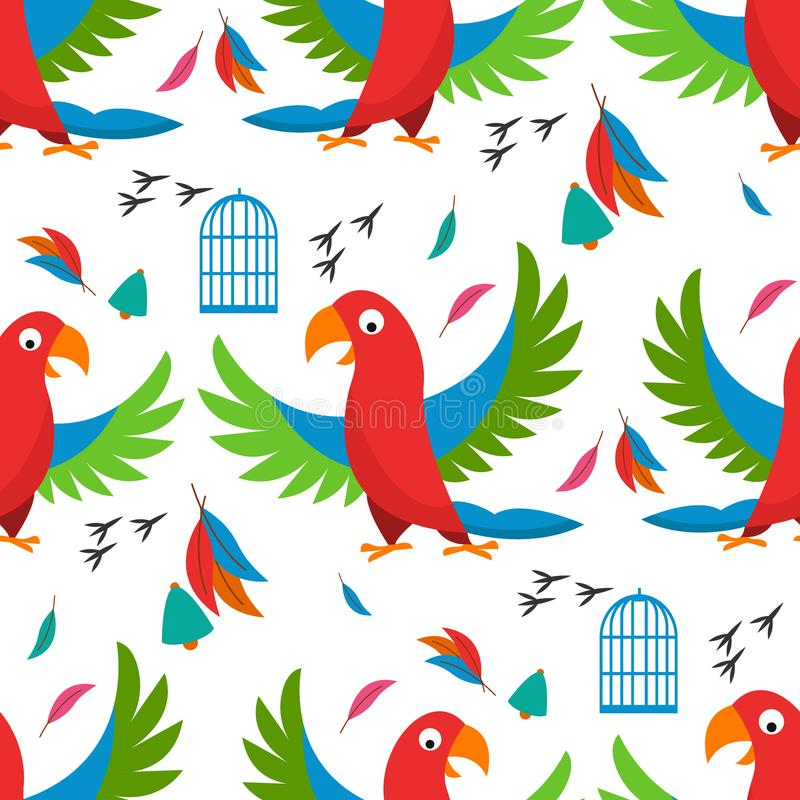 Seamless pattern parrot bird cell vector illustration wild animal characters cute fauna tropical feather pets background. Summer textile white abstract birds stock illustration