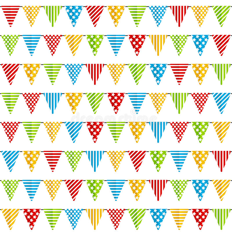 Seamless pattern with party flags. On white stock illustration