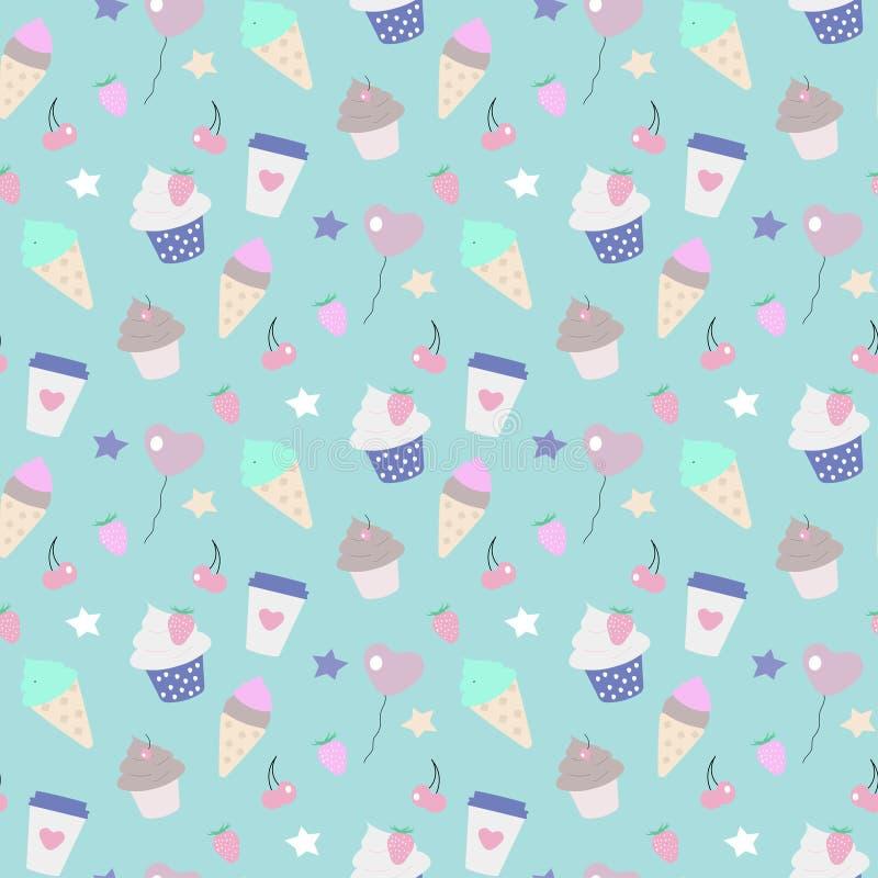 Seamless pattern party ice-cream vector illustration
