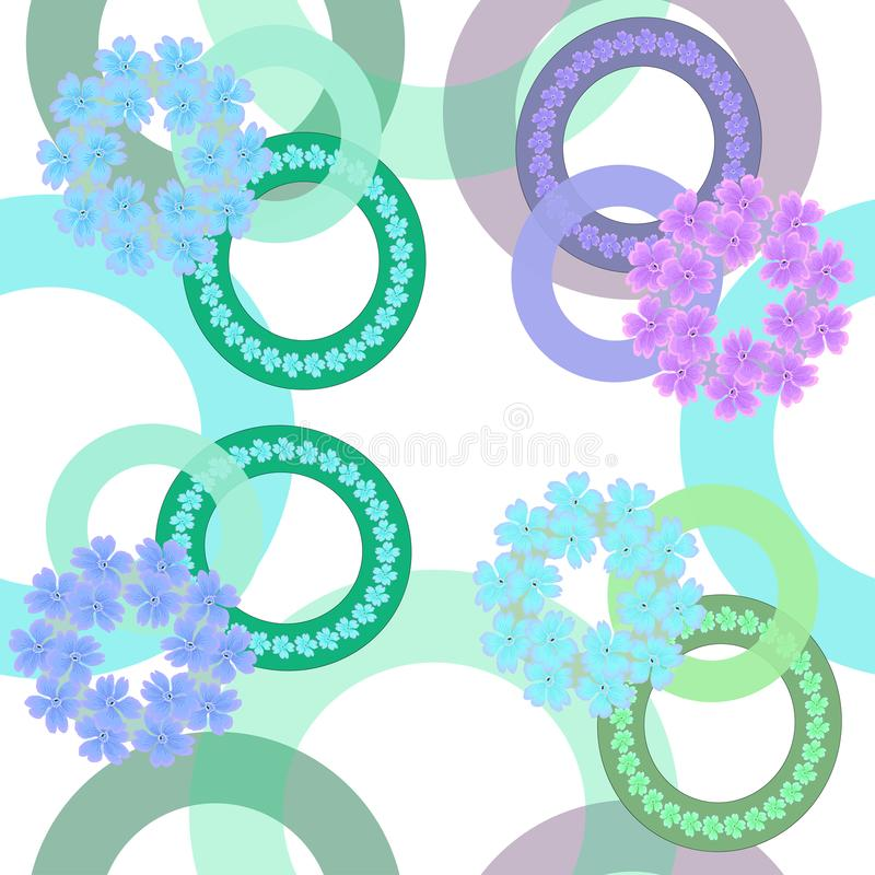 Seamless pattern in pastel colors with rings flowers on white background royalty free illustration