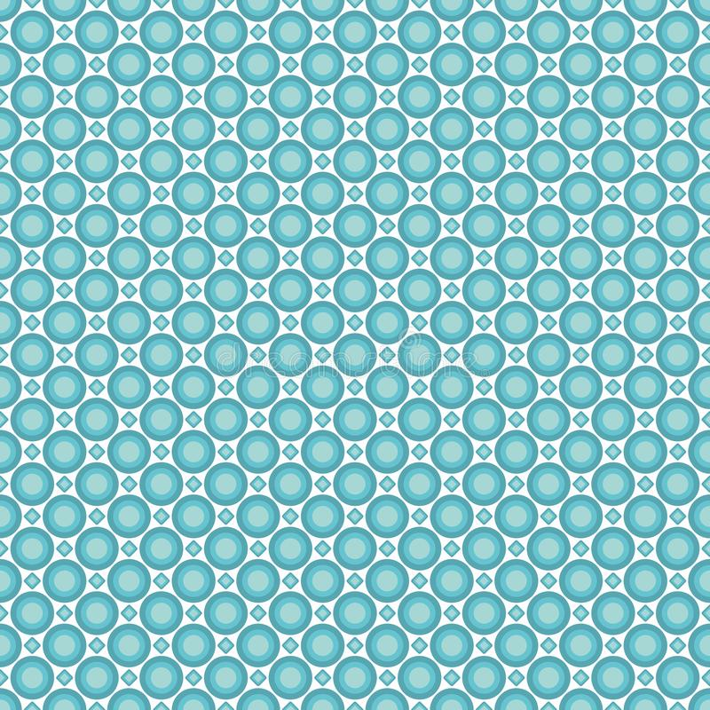 Seamless pattern of pastel sea azur circles and rhombuses. Background for fabrics, wallpapers, coatings, prints and designs. EPS file, vector - the template stock illustration