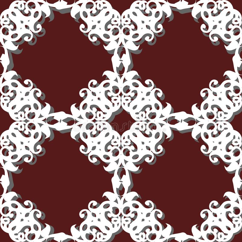 Seamless pattern patchwork of white plates, ornaments. stock illustration