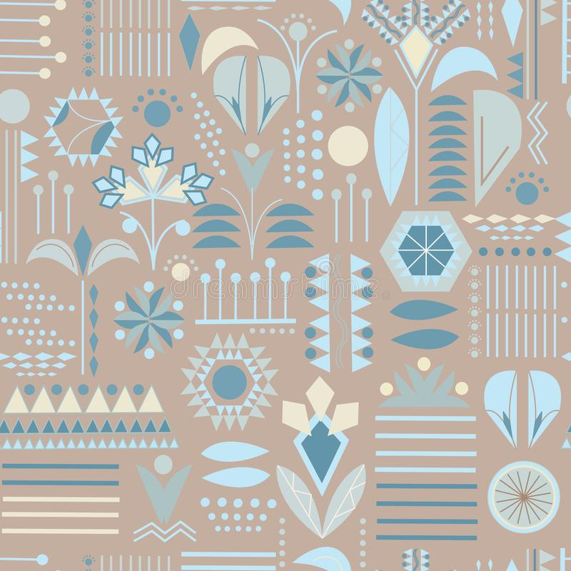 Seamless pattern of patterns and geometric shapes. Textile ornament for fabric, tile, wallpaper and paper.  vector illustration