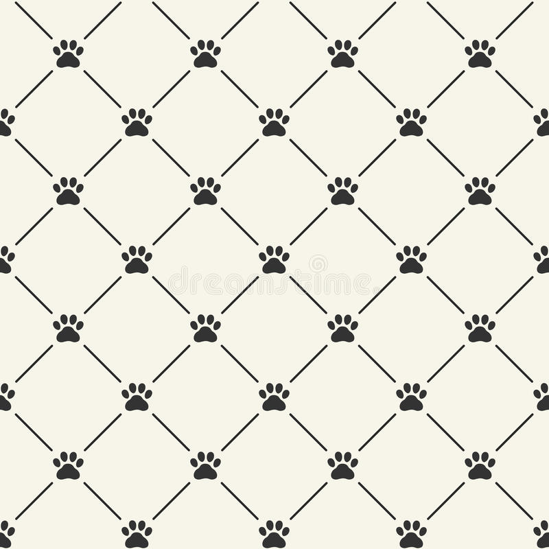 Seamless pattern with paw prints stock illustration