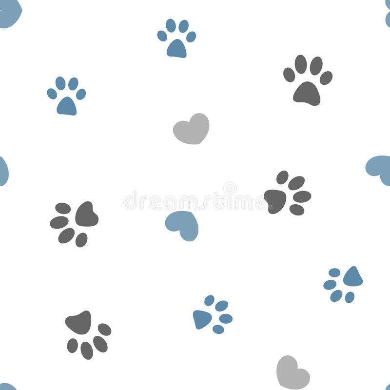 Free Seamless Pattern Paws And Hearts. Stock Photo - 151410820