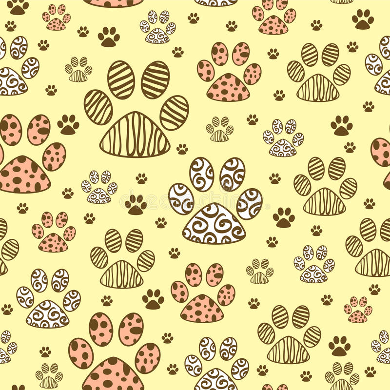 Seamless pattern with paws vector illustration