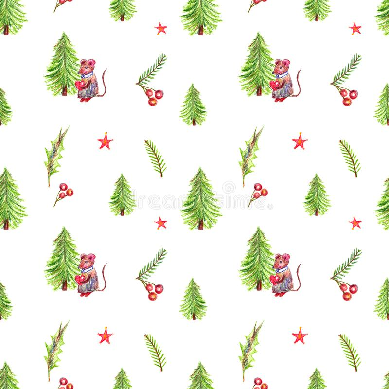 Seamless pattern pencil color illustration of winter Merry Christmas. Element branches of spruce, leaves of red berries, great for New Year and Christmas royalty free stock image