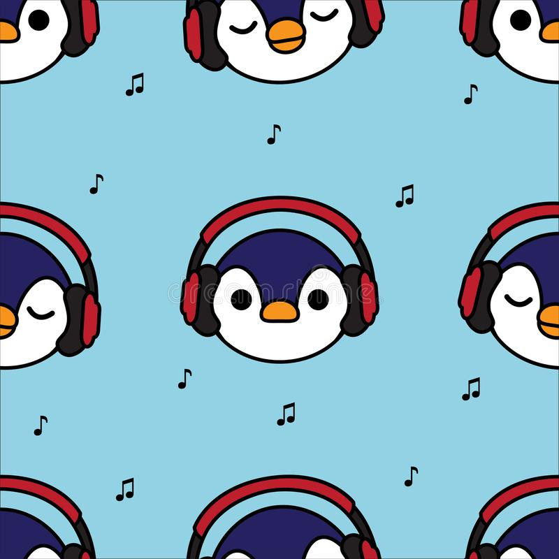 Seamless pattern penguin with red headphones and music note on blue background royalty free illustration