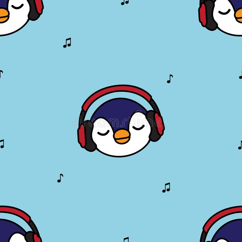Seamless pattern penguin with red headphones royalty free illustration